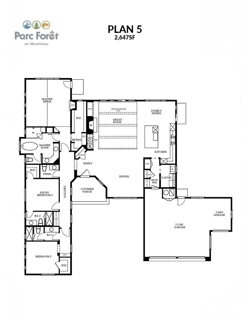 Semi custom floor plans parc for t at montr ux for Customized floor plans